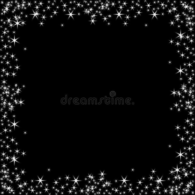 Τετραγωνικό πλαίσιο με τα άσπρα αστέρια στο μαύρο υπόβαθρο, χρυσά σύμβολα σπινθηρισμάτων - το αστέρι ακτινοβολεί, αστρική φλόγα διανυσματική απεικόνιση