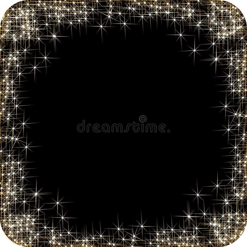 Τετραγωνικό πλαίσιο με τα χρυσά αστέρια στο μαύρο υπόβαθρο, χρυσά σύμβολα σπινθηρισμάτων - το αστέρι ακτινοβολεί, αστρική φλόγα ελεύθερη απεικόνιση δικαιώματος