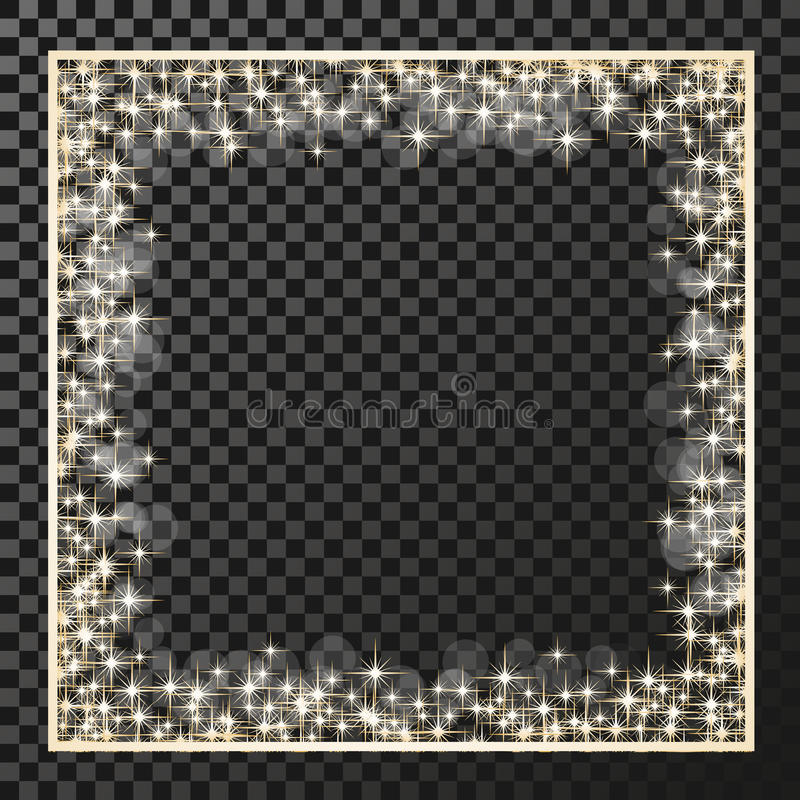 Τετραγωνικό πλαίσιο με τα χρυσά αστέρια στο υπόβαθρο διαφάνειας, χρυσά σύμβολα σπινθηρισμάτων - το αστέρι ακτινοβολεί, αστρική φλ απεικόνιση αποθεμάτων