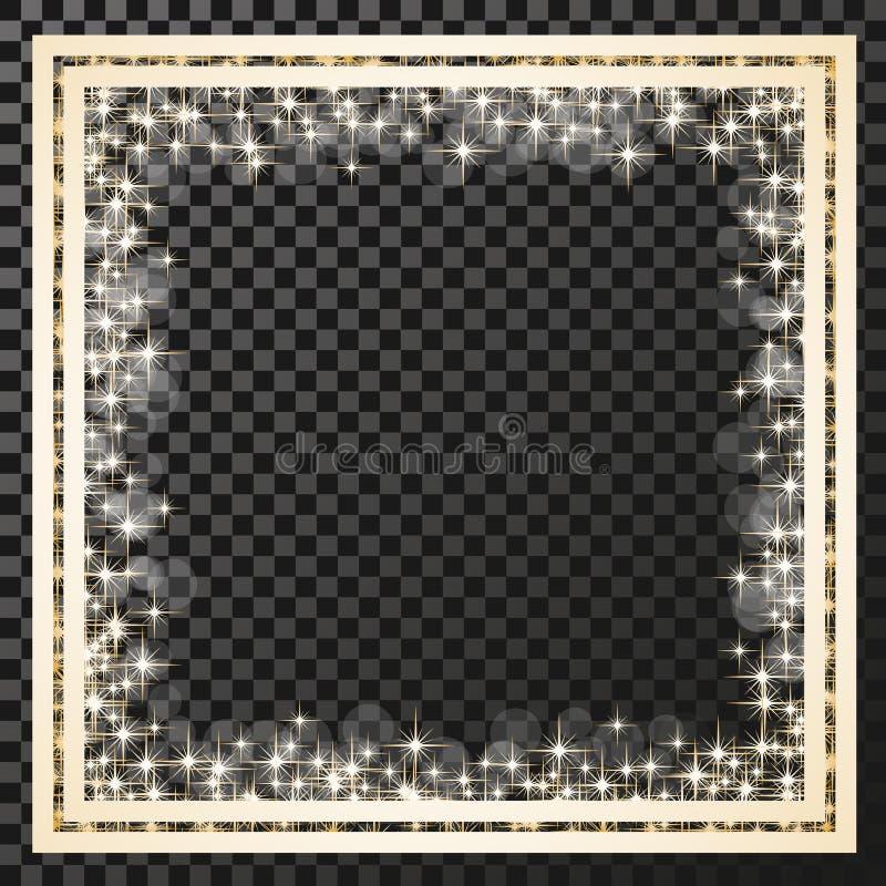 Τετραγωνικό πλαίσιο με τα χρυσά αστέρια στο υπόβαθρο διαφάνειας, χρυσά σύμβολα σπινθηρισμάτων - το αστέρι ακτινοβολεί, αστρική φλ ελεύθερη απεικόνιση δικαιώματος