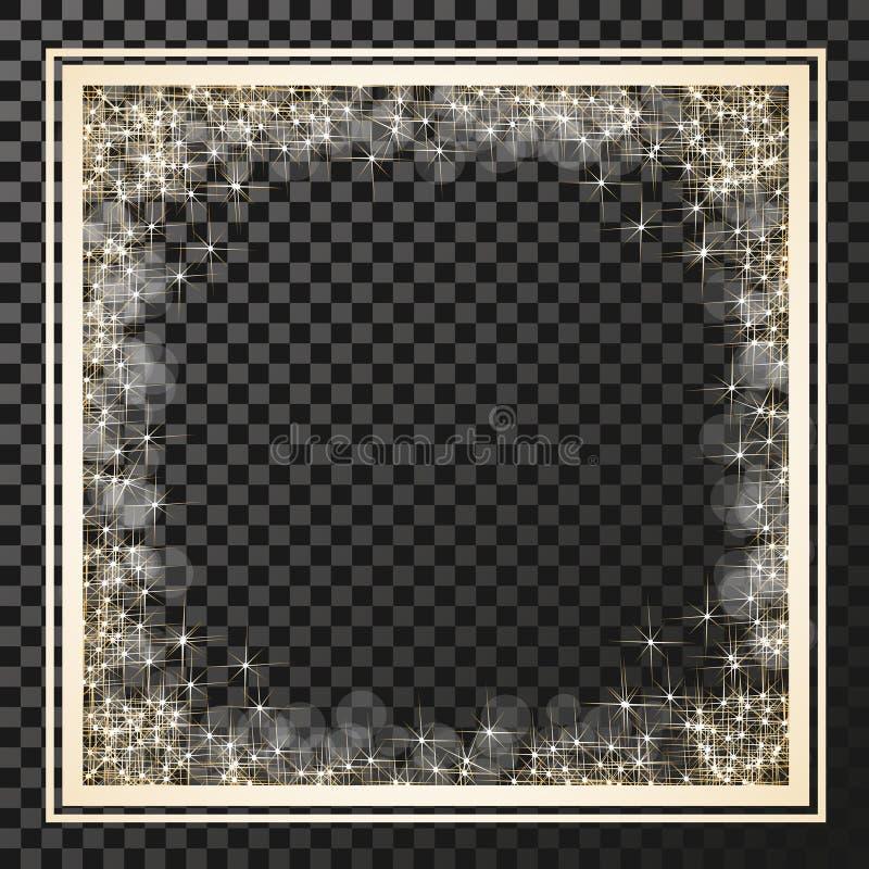Τετραγωνικό πλαίσιο με τα χρυσά αστέρια στο υπόβαθρο διαφάνειας, χρυσά σύμβολα σπινθηρισμάτων - το αστέρι ακτινοβολεί, αστρική φλ διανυσματική απεικόνιση