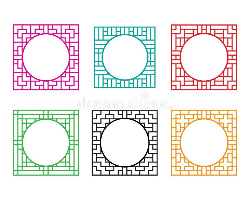 Τετραγωνικό πλαίσιο παραθύρων με την τρύπα κύκλων στο κέντρο ελεύθερη απεικόνιση δικαιώματος