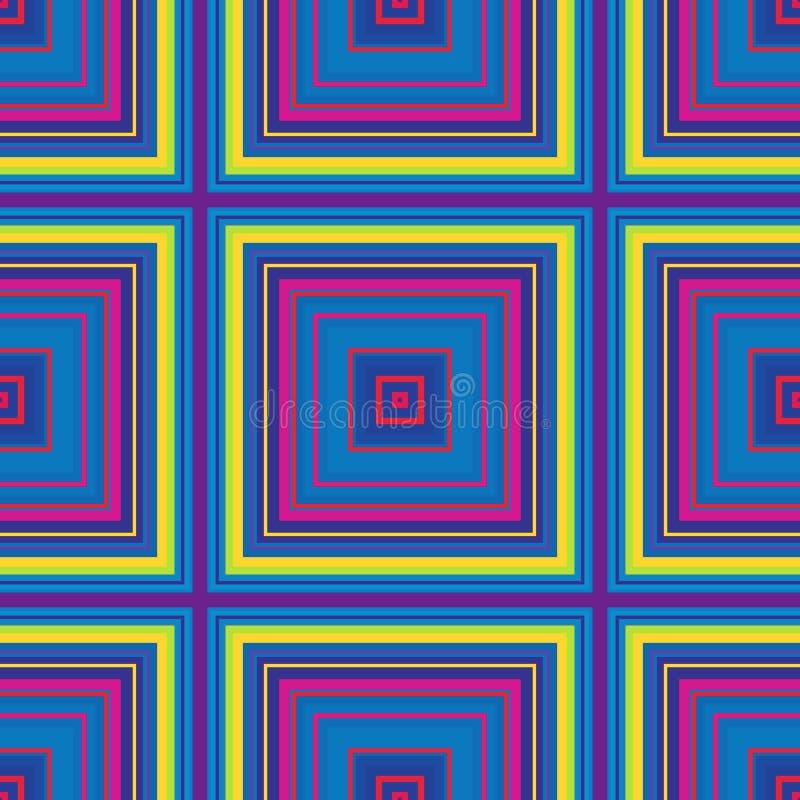 Τετραγωνικό υπνωτικό σχέδιο, παραίσθηση γεωμετρική αφηρημένος άνευ ραφής διανυσματική απεικόνιση
