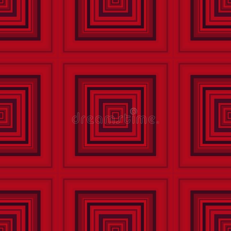 Τετραγωνικό υπνωτικό σχέδιο, παραίσθηση γεωμετρική τέχνη επαναλαμβανόμενη ελεύθερη απεικόνιση δικαιώματος
