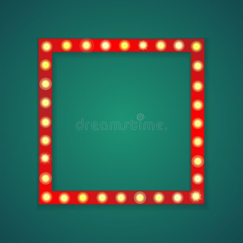 Τετραγωνικό υπόβαθρο πλαισίων κόκκινου φωτός διανυσματική απεικόνιση