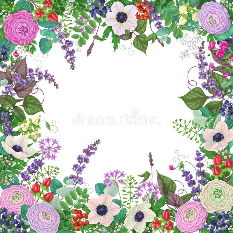 Τετραγωνικό Floral πλαίσιο διανυσματική απεικόνιση