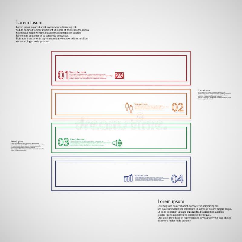Τετραγωνικό infographic πρότυπο που διαιρείται σε τέσσερα μέρη από τις διπλές περιλήψεις ελεύθερη απεικόνιση δικαιώματος