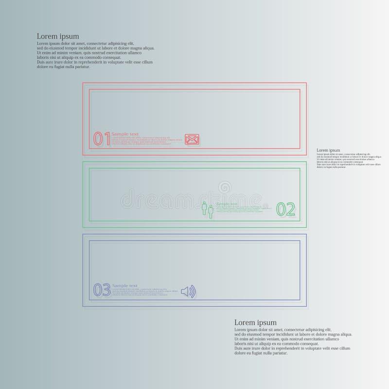 Τετραγωνικό infographic πρότυπο που διαιρείται σε τρία μέρη από τις διπλές περιλήψεις ελεύθερη απεικόνιση δικαιώματος