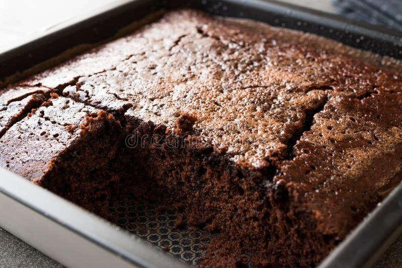 Τετραγωνικό Juicy υγρό κέικ σφουγγαριών σοκολάτας με τη σάλτσα στη φόρμα στοκ εικόνες με δικαίωμα ελεύθερης χρήσης