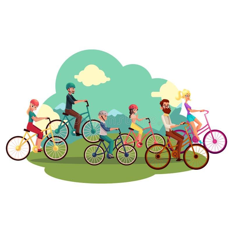 Τετραμελής οικογένεια - πατέρας, μητέρα, κόρη, γιος - οδηγώντας ποδήλατα απεικόνιση αποθεμάτων