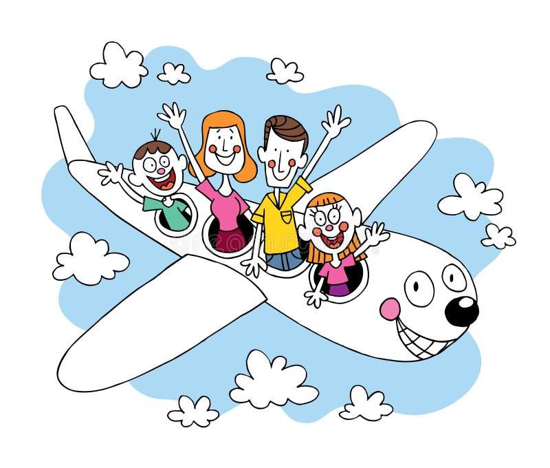 Τετραμελής οικογένεια που πηγαίνει σε ένα ταξίδι που ταξιδεύει με το αεροπλάνο ελεύθερη απεικόνιση δικαιώματος