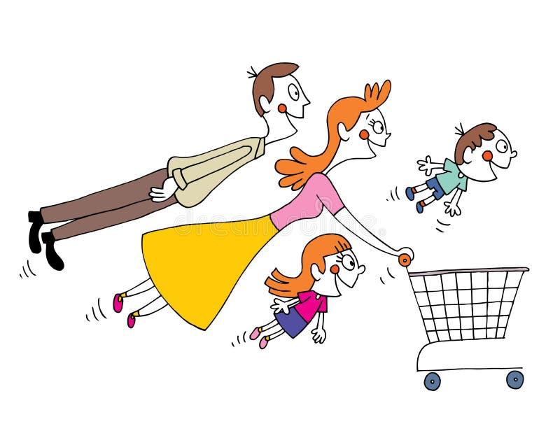 Τετραμελής οικογένεια που ψωνίζει με το κάρρο αγορών διανυσματική απεικόνιση