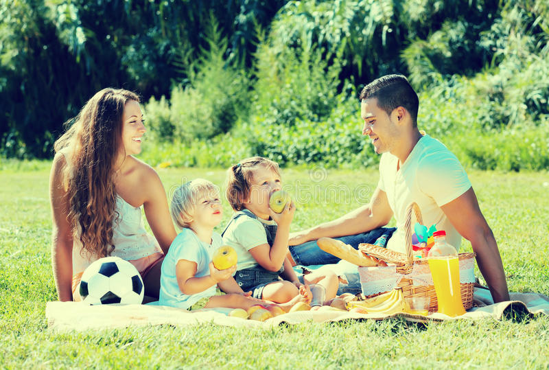 Τετραμελής οικογένεια στο πικ-νίκ στοκ εικόνες