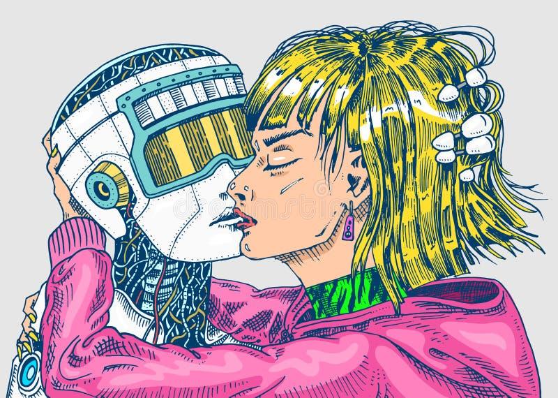 τεχνητή ηλεκτρονική νοημοσύνη έννοιας κυκλωμάτων εγκεφάλου mainboard Φιλί ρομπότ και ανδρών, γυναικών και ανδρών Ζεύγος αγάπης έν διανυσματική απεικόνιση