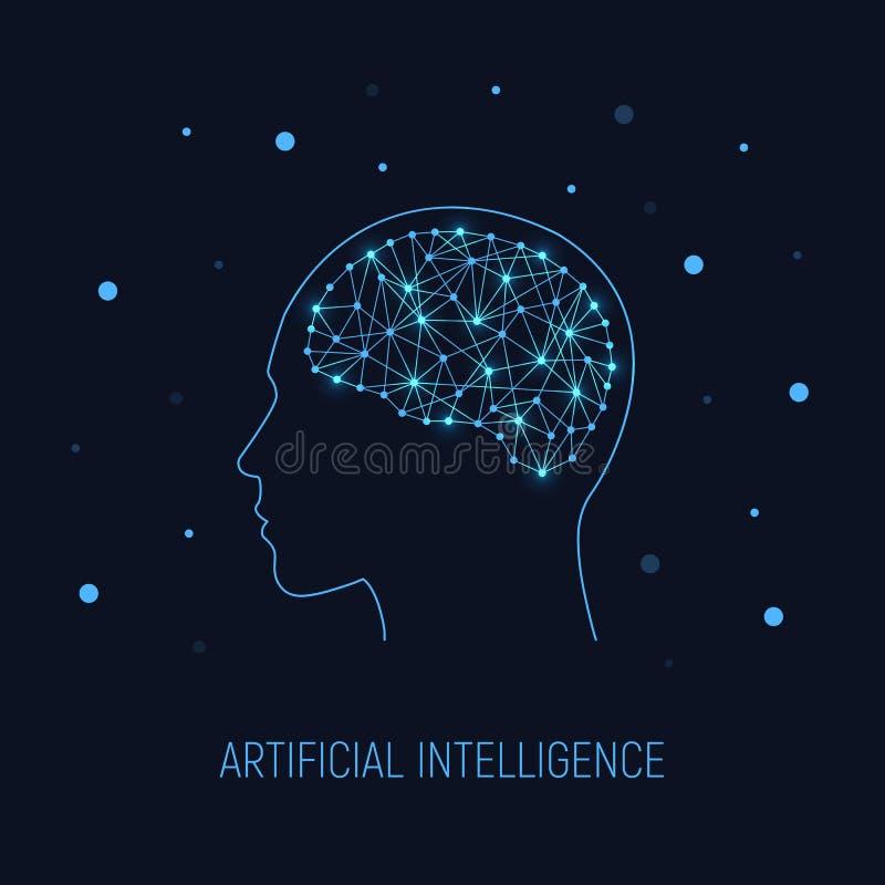τεχνητή ηλεκτρονική νοημοσύνη έννοιας κυκλωμάτων εγκεφάλου mainboard Κυβερνητικός εγκέφαλος στον ηλεκτρονικό κυβερνοχώρο Επιστήμη απεικόνιση αποθεμάτων