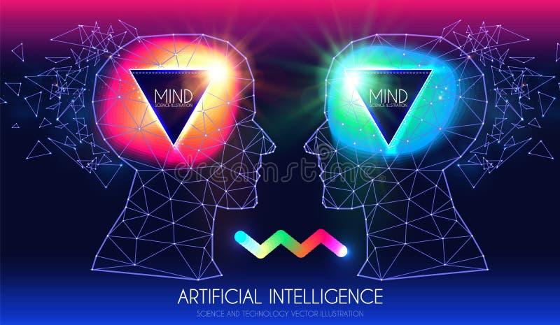 τεχνητή νοημοσύνη Ανθρώπινη συνείδηση Διαδικασία μυαλού Άνθρωπος εναντίον του ρομπότ Επιστημονικό ψηφιακό πρότυπο σχεδίου διανυσματική απεικόνιση