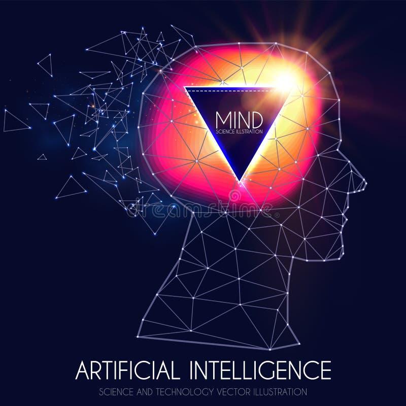 τεχνητή νοημοσύνη Ανθρώπινη συνείδηση Διαδικασία μυαλού Άνθρωπος εναντίον του ρομπότ Επιστημονικό ψηφιακό πρότυπο σχεδίου ελεύθερη απεικόνιση δικαιώματος