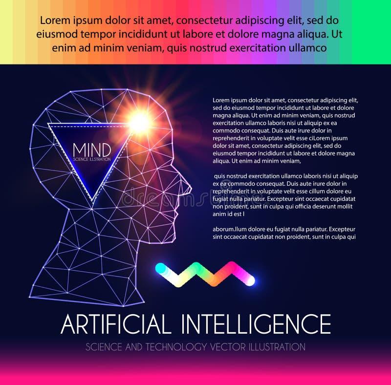 τεχνητή νοημοσύνη Ανθρώπινη συνείδηση Διαδικασία μυαλού Άνθρωπος εναντίον του ρομπότ Επιστημονικό ψηφιακό πρότυπο σχεδίου απεικόνιση αποθεμάτων