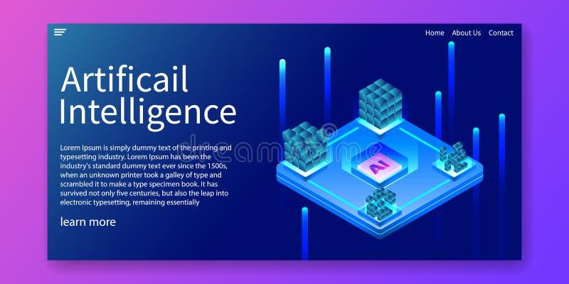 Τεχνητή νοημοσύνη, αυτοματοποίηση AI ΚΜΕ, isometric έννοια σχεδίου τεχνολογίας Σχέδιο προτύπων Ιστού r ελεύθερη απεικόνιση δικαιώματος