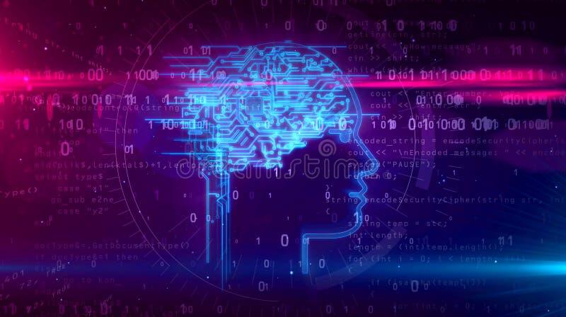 Τεχνητή νοημοσύνη και κυβερνητικός εγκέφαλος με τη μορφή προσώπου απεικόνιση αποθεμάτων