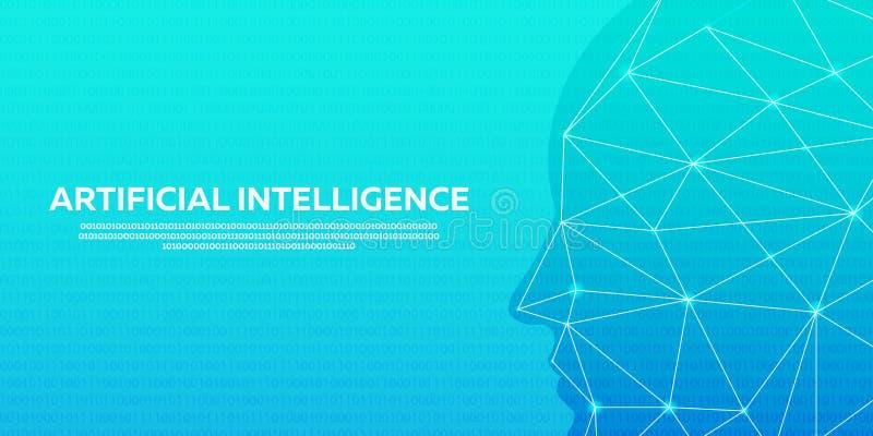 Τεχνητή νοημοσύνη, κυβερνητικός εγκέφαλος, δυαδικός κώδικας επίσης corel σύρετε το διάνυσμα απεικόνισης ελεύθερη απεικόνιση δικαιώματος