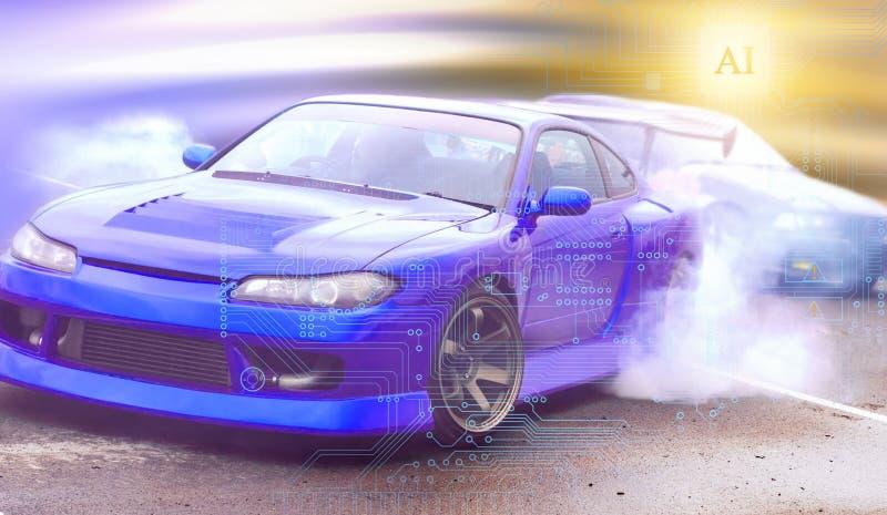 Τεχνητή νοημοσύνη ως μέσο οδήγησης ενός αυτοκινήτου σε επαγγελματικό  στοκ εικόνες