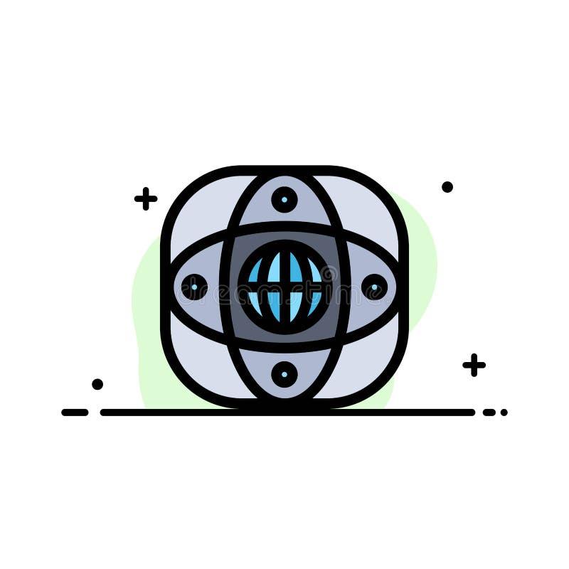 Τεχνητός, σύνδεση, γη, σφαιρικός, σφαιρών πρότυπο εμβλημάτων επιχειρησιακών επίπεδο γεμισμένο γραμμή εικονιδίων διανυσματικό ελεύθερη απεικόνιση δικαιώματος
