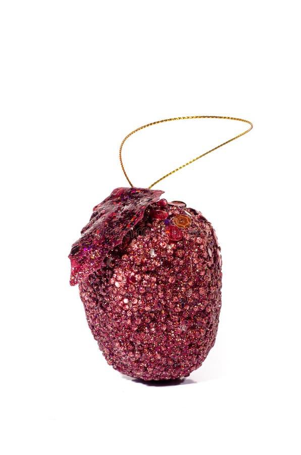 Τεχνητό κόκκινο μήλο, που απομονώνεται στην άσπρη υγεία πείνας υποβάθρου στοκ φωτογραφία