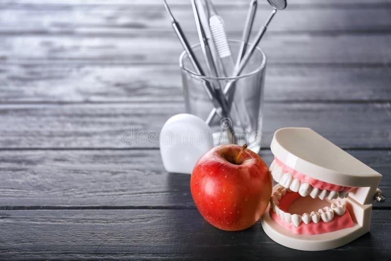 Τεχνητό σαγόνι με το ώριμο μήλο και οδοντικά εργαλεία στο σκοτεινό ξύλινο πίνακα στοκ εικόνες