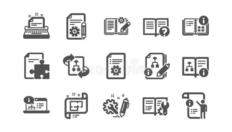 Τεχνικά εικονίδια τεκμηρίωσης Οδηγία, σχέδιο και εγχειρίδιο Κλασικό σύνολο εικονιδίων r απεικόνιση αποθεμάτων