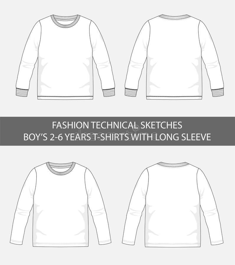 Τεχνικά σκίτσα μόδας για τα αγόρια μπλούζες 2-6 ετών με το μακρύ μανίκι ελεύθερη απεικόνιση δικαιώματος
