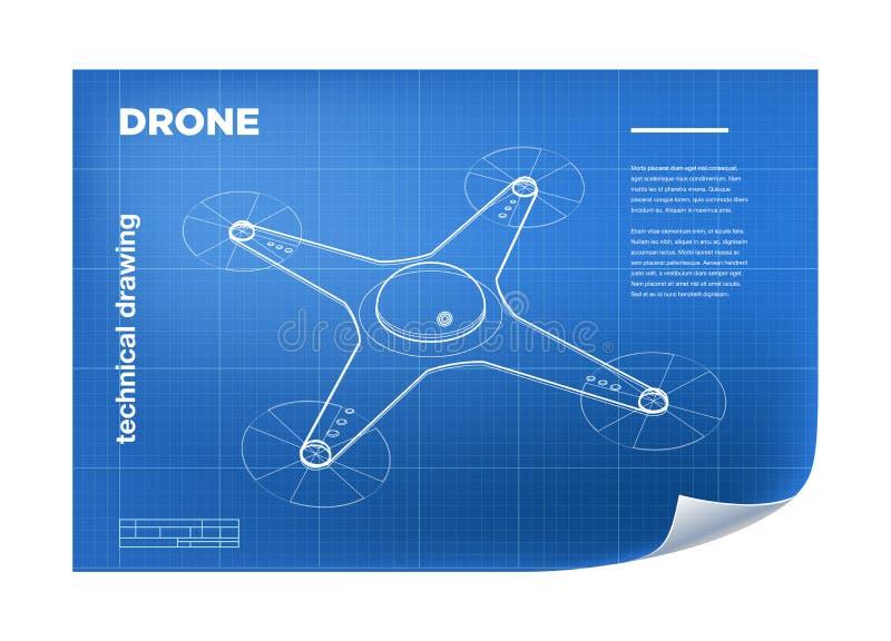 Τεχνική απεικόνιση με το διανυσματικό isometric κηφήνα γραμμών quadcopter διανυσματική απεικόνιση