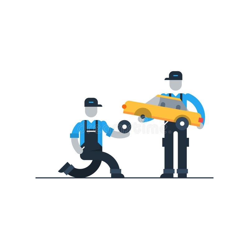 Τεχνική επιθεώρηση οχημάτων, που ψάχνει για το πρόβλημα ελεύθερη απεικόνιση δικαιώματος