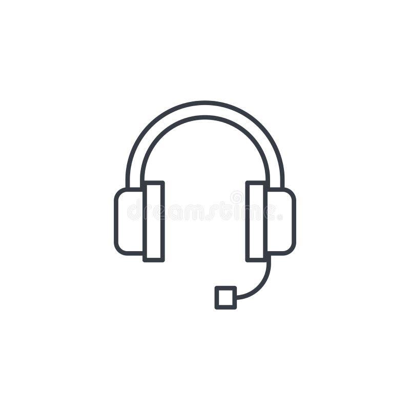Τεχνική υποστήριξη, μικρόφωνο ακουστικών, λεπτό εικονίδιο γραμμών χειριστών Γραμμικό διανυσματικό σύμβολο ελεύθερη απεικόνιση δικαιώματος