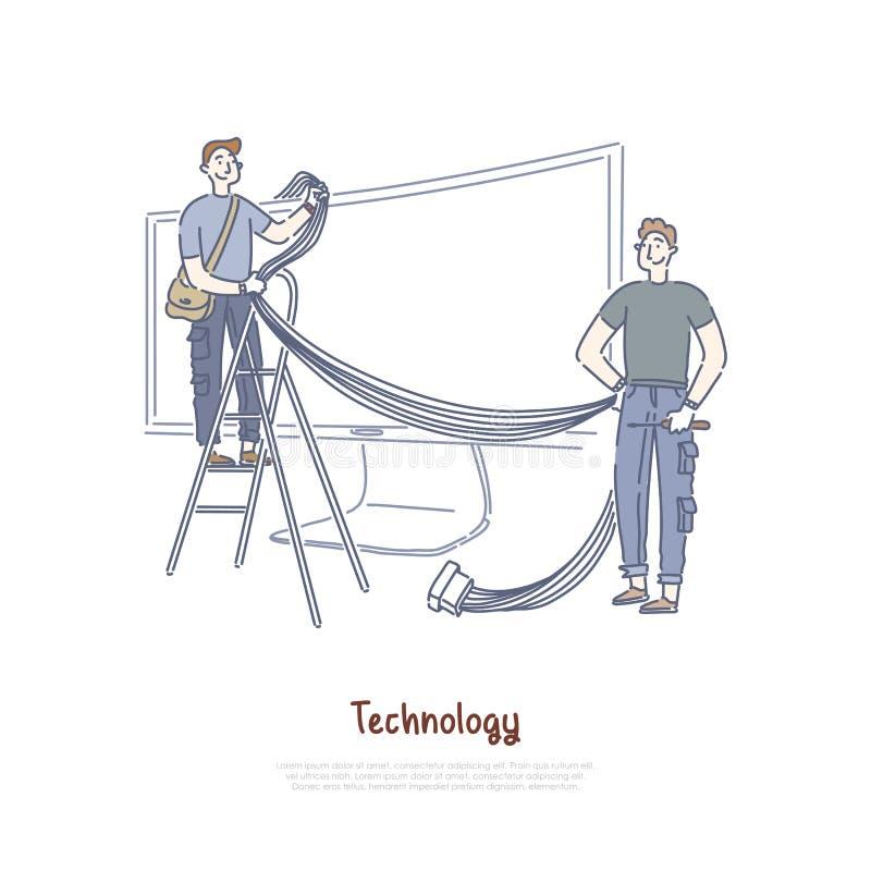 Τεχνικοί που συνδέουν τα καλώδια και τα καλώδια, έξυπνη τεχνολογία TV, τηλεόραση Διαδικτύου, της μεγάλης οθόνης έμβλημα οργάνων ε διανυσματική απεικόνιση
