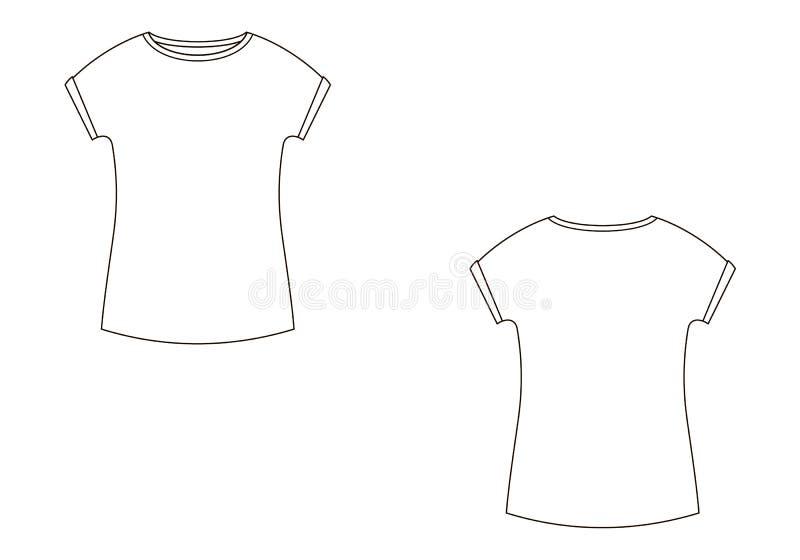 Τεχνικό σκίτσο μόδας της μπλούζας διανυσματικό σε γραφικό ελεύθερη απεικόνιση δικαιώματος