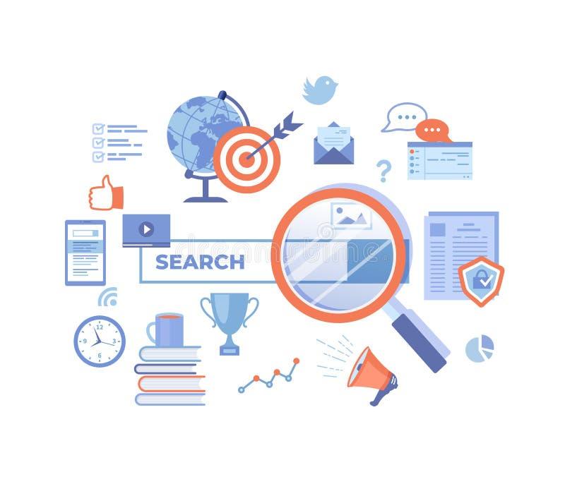 Τεχνολογία αναζήτησης Ιστού, μηχανή αναζήτησης, SEO, εύρεση στοιχείων Φραγμός αναζήτησης με τα στοιχεία αποτελέσματος Έμβλημα Ιστ απεικόνιση αποθεμάτων