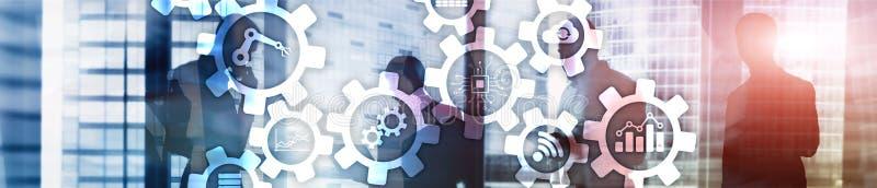 Τεχνολογία αυτοματοποίησης και έξυπνη έννοια βιομηχανίας στο θολωμένο αφηρημένο υπόβαθρο Εργαλεία και εικονίδια Έμβλημα επιγραφών στοκ εικόνα με δικαίωμα ελεύθερης χρήσης