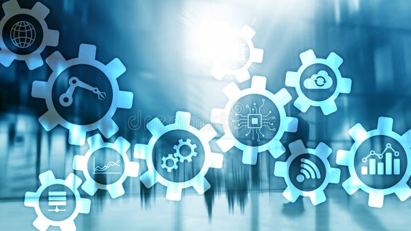Τεχνολογία αυτοματοποίησης και έξυπνη έννοια βιομηχανίας στο θολωμένο αφηρημένο υπόβαθρο Εργαλεία και εικονίδια απεικόνιση αποθεμάτων