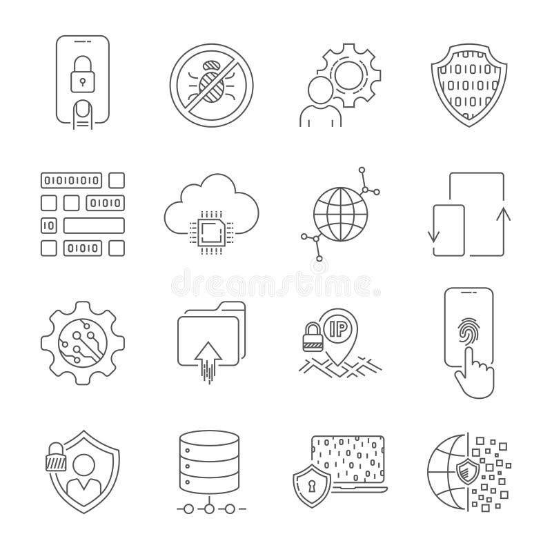 Τεχνολογία Διαδικτύου, υπηρεσία online στοιχεία, ασφάλεια πληροφοριών, τεχνολογία σύνδεσης, GDPR Λεπτό σύνολο εικονιδίων Ιστού γρ διανυσματική απεικόνιση