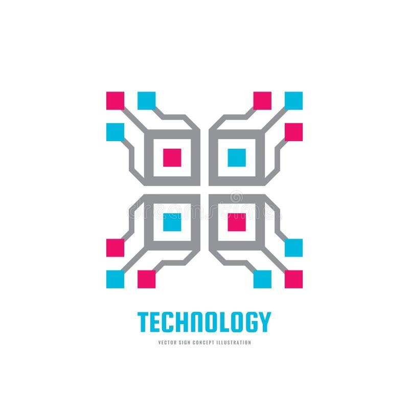 Τεχνολογία - διανυσματική απεικόνιση προτύπων επιχειρησιακών λογότυπων έννοιας Μελλοντικό δημιουργικό σημάδι blockchain Ψηφιακό ε διανυσματική απεικόνιση