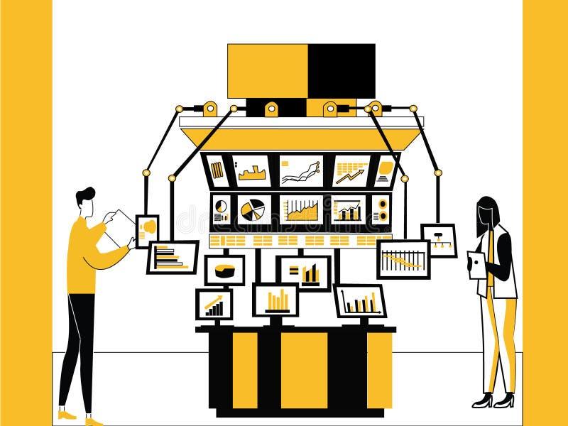 Τεχνολογία και μηχανές χρηματιστηρίου διανυσματική απεικόνιση