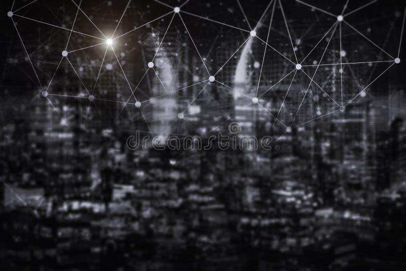 Τεχνολογία σύνδεσης δικτύων με την πόλη νύχτας Ηλεκτρονικό εμπόριο commun στοκ εικόνες