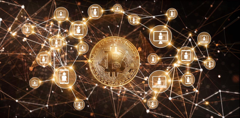 Τεχνολογία Blockchain και bitcoin έννοια δικτύων cryptocurrency διανυσματική απεικόνιση