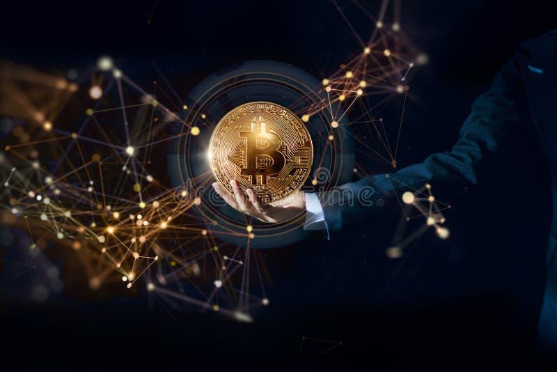 Τεχνολογία cryptocurrency Bitcoin και έννοια δικτύων ethereum στοκ φωτογραφίες