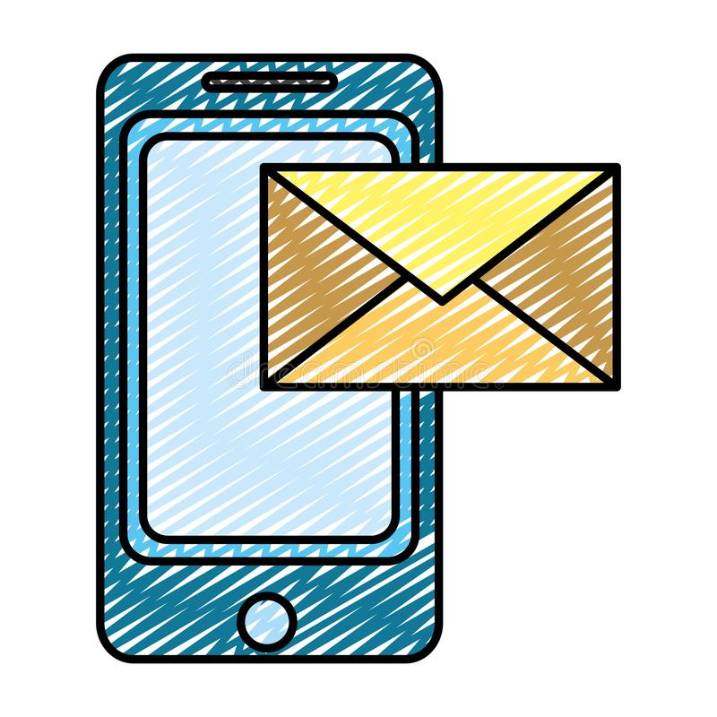 Τεχνολογία smartphone Doodle με το ηλεκτρονικό μήνυμα ηλεκτρονικού ταχυδρομείου ελεύθερη απεικόνιση δικαιώματος
