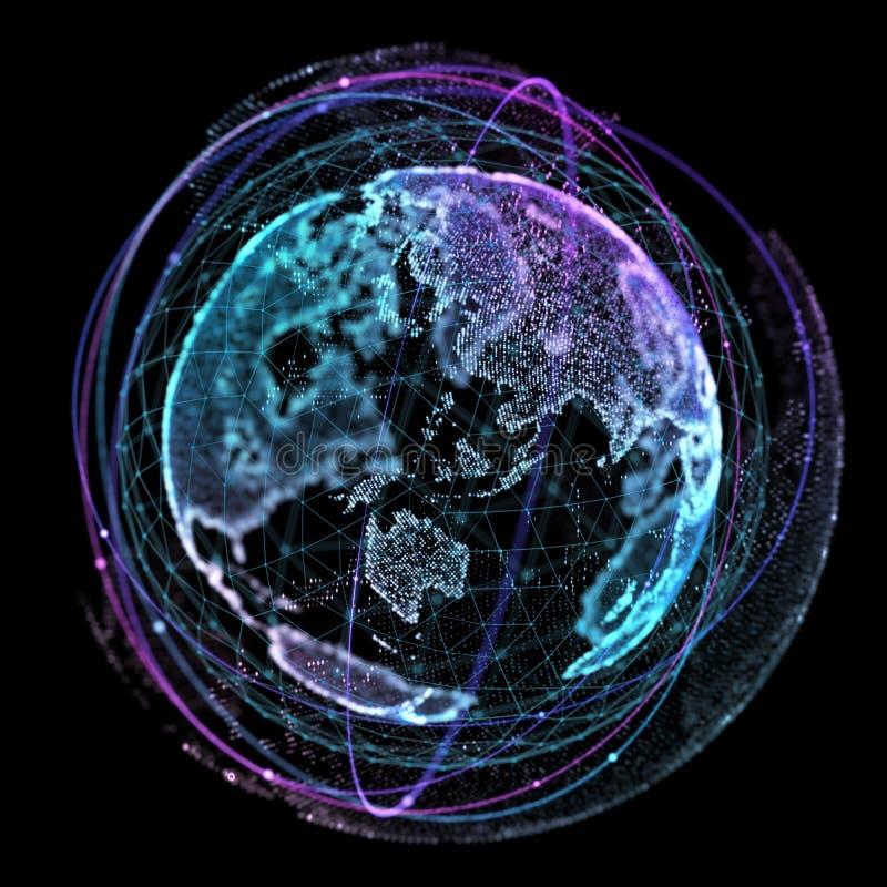 Τεχνολογίες Διαδικτύου παγκόσμιων δικτύων Ψηφιακός παγκόσμιος χάρτης τρισδιάστατη απεικόνιση διανυσματική απεικόνιση