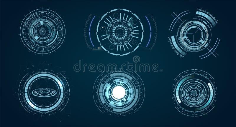 Τεχνολογικά στοιχεία HUD, φουτουριστική εικονική πραγματικότητα διεπαφών Φουτουριστικό πρότυπο Hud κύκλος ψηφιακός του σχεδίου τε διανυσματική απεικόνιση