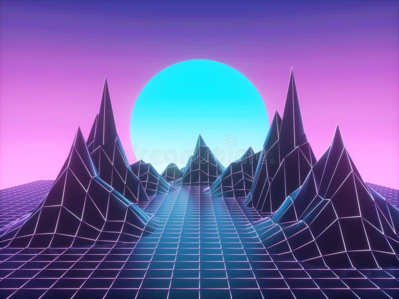 Τεχνολογική σκηνή vaporwave sci-Fi διανυσματική απεικόνιση