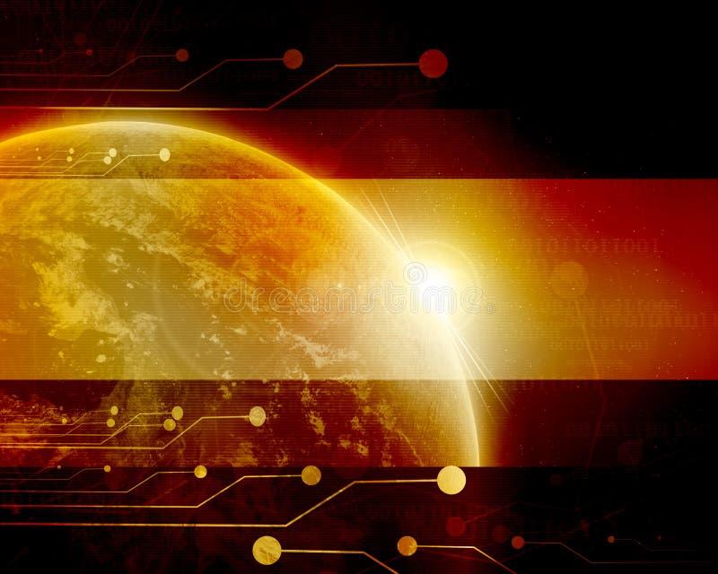 Τεχνολογικός μπλε πλανήτης Γη ελεύθερη απεικόνιση δικαιώματος